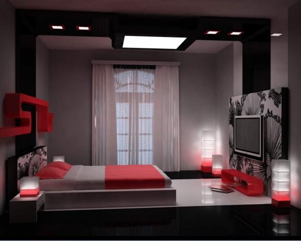 Темная спальная комната я яркими красными пятнами