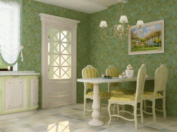 Обеденная в стиле Прованс в зеленых тонах