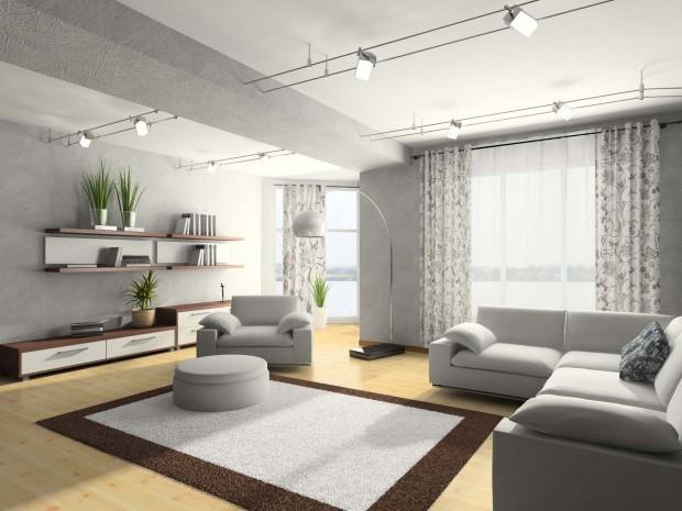 Комната в стиле минимализм с ковром по центру