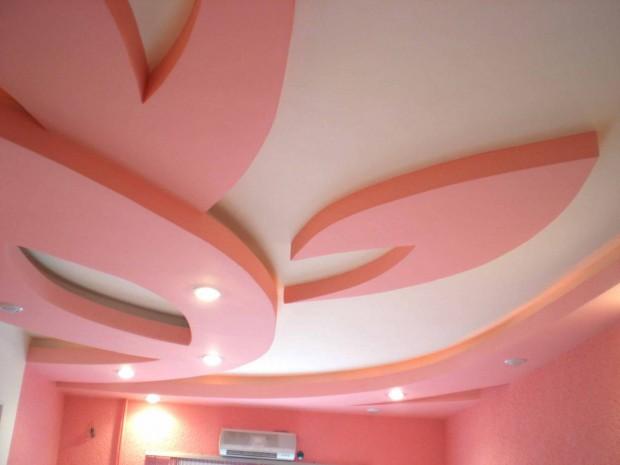 Двехцветный потолок из гипсокартона