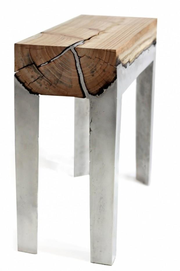 Лавки из алюминия и дерева 2