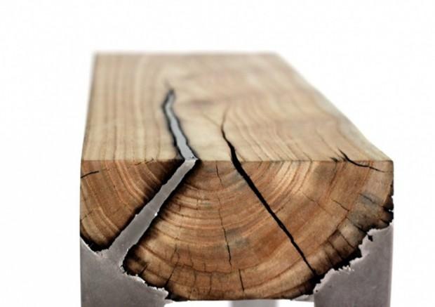 Лавки из алюминия и дерева 3