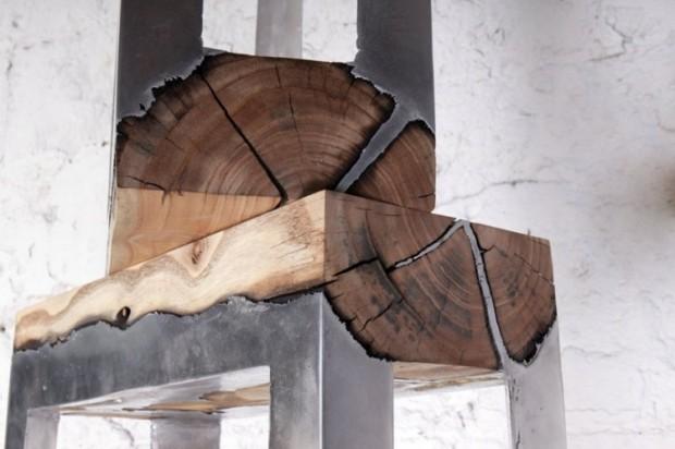 Лавки из алюминия и дерева 4