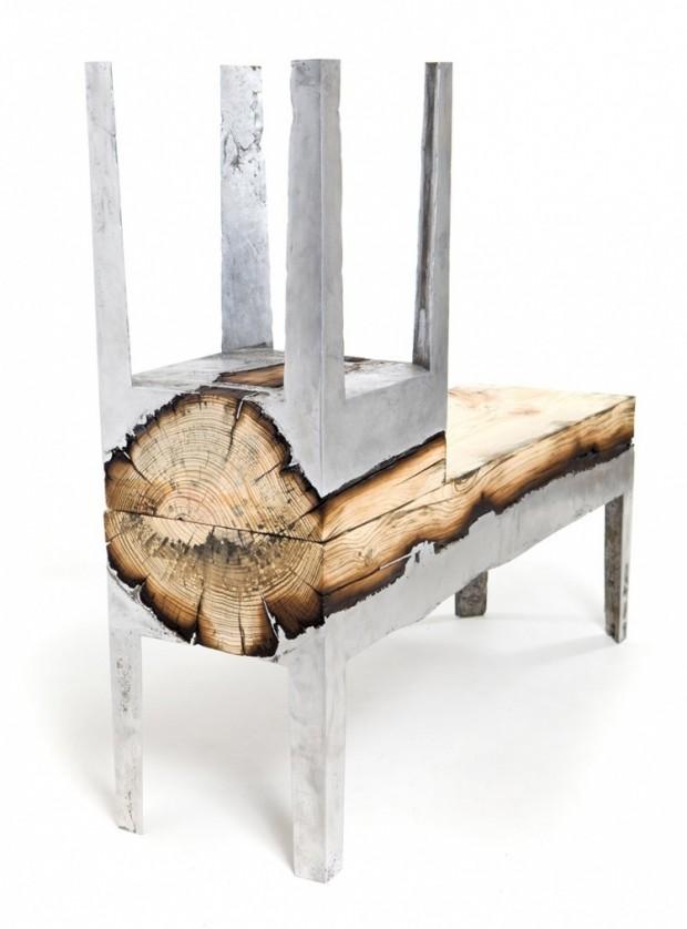 Лавки из алюминия и дерева 5