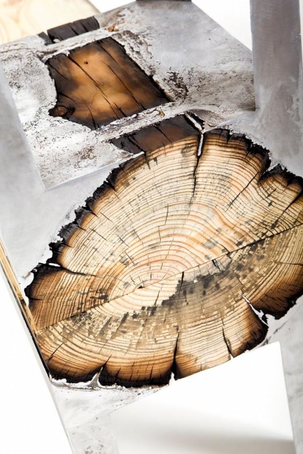 Лавки из алюминия и дерева 6