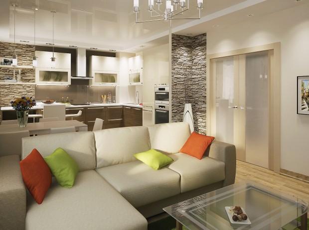 Кухня в трех-комнатной квартире