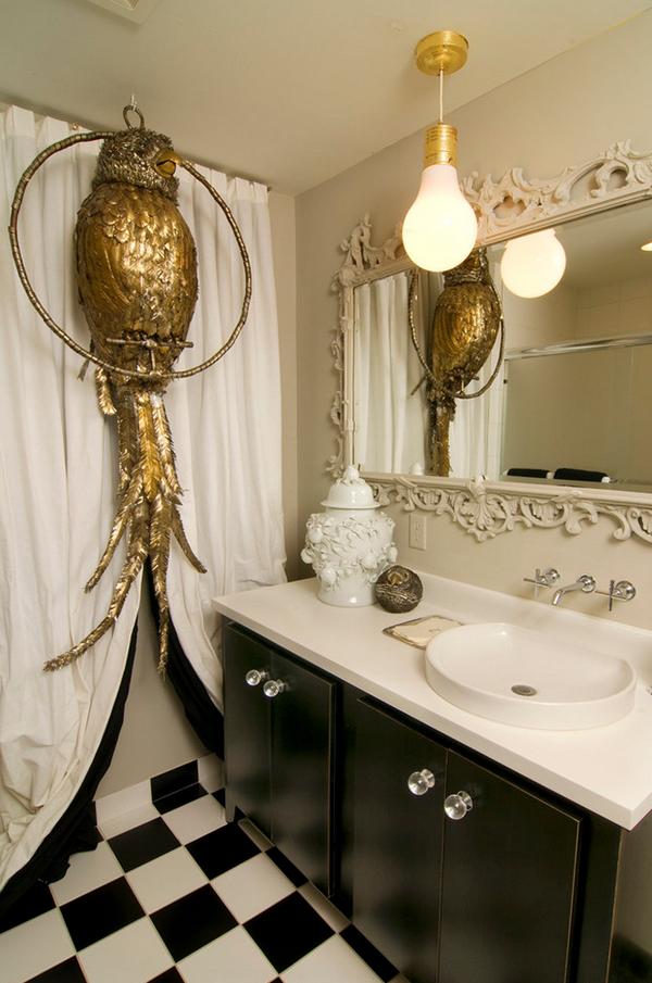 Дизайн черно белой ванной комнаты 2