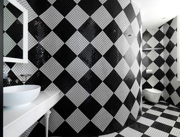 Дизайн черно белой ванной комнаты 3
