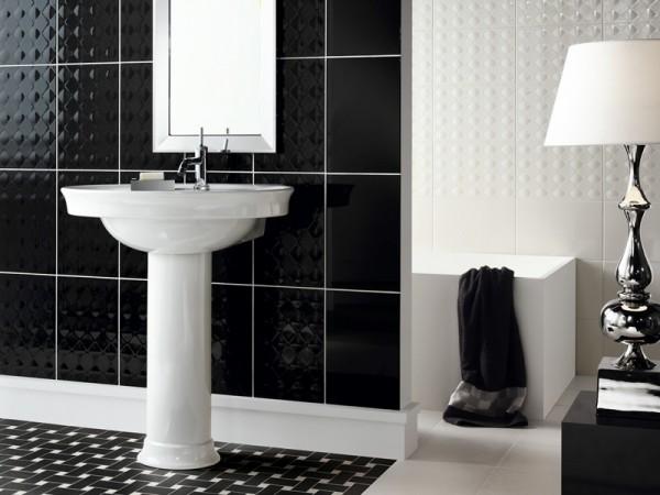 Дизайн черно белой ванной комнаты 4