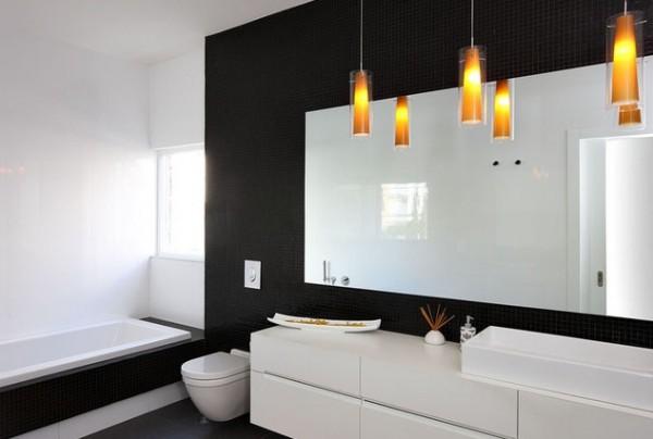 Дизайн черно белой ванной комнаты 6