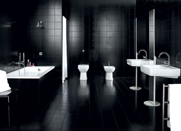 Дизайн черно белой ванной комнаты 7