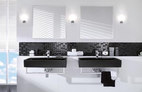 Дизайн черно белой ванной комнаты