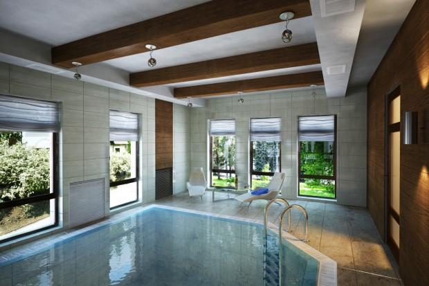 Глубокий бассейн в сауне