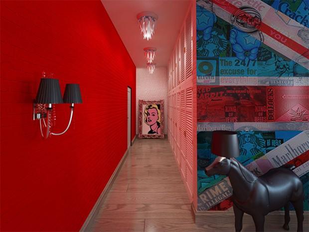 Ярко красный коридор в стиле поп-арт