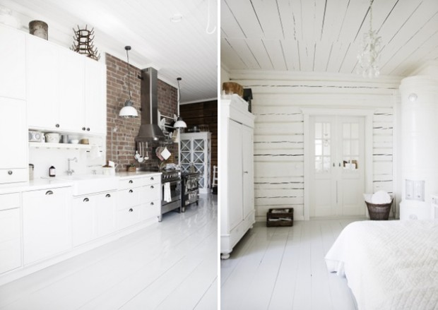 Два интерьера стильного белого цвета