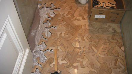 Рисунки рептилий на деревянном полу