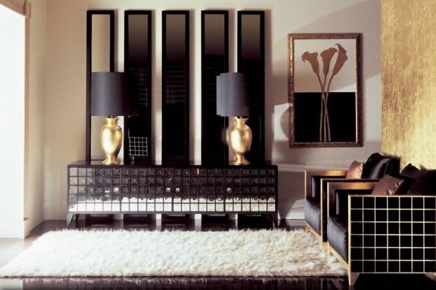 Белый ковер, черная мебель
