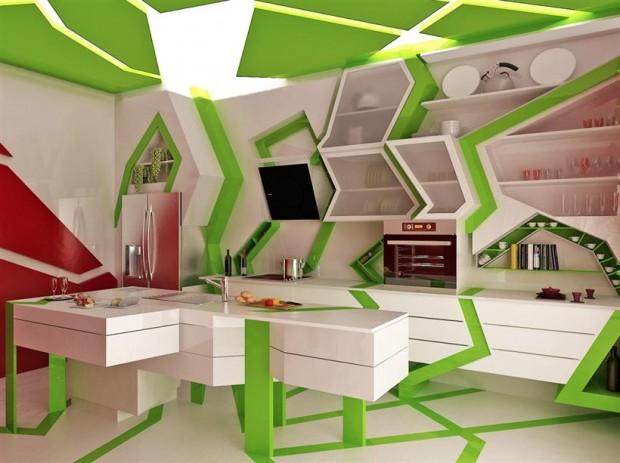 Зеленая комната в стиле Китч