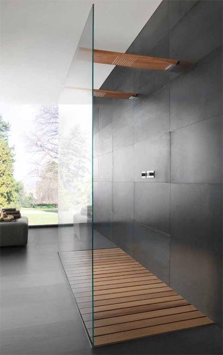 Деревянное покрытие в ванной комнате 9