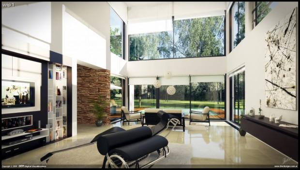 просторная гостиная с большими окнами