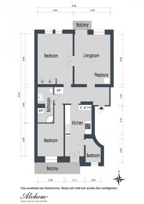 Интерьер квартиры в Швеции 18