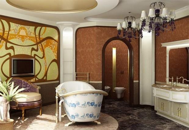Ванная комната в стиле модерн, с расписной ванной