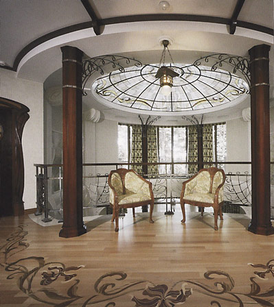 Холл с лестницей в стиле модерн