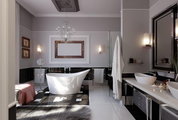 Ванная с отличной фурнитурой в модерновом стиле