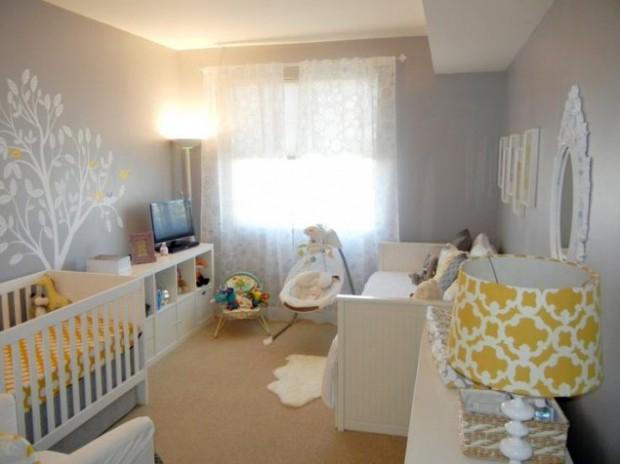 Интерьер комнаты с желтыми оттенками для новорожденного