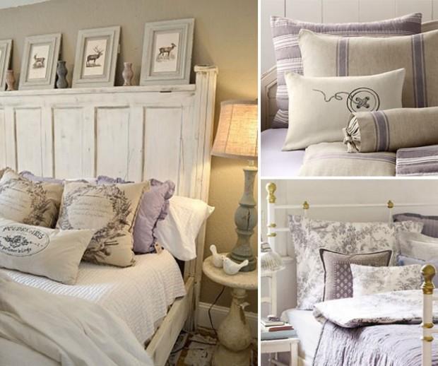 Деревянная кровать с бело-фиолетовым постельным бельем