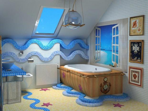 Морские мотивы в интерьере ванной комнаты 3