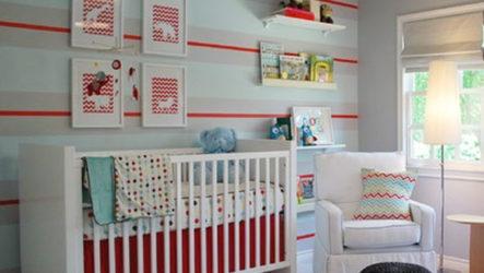 Дизайн интерьера детской комнаты: стильная полоска