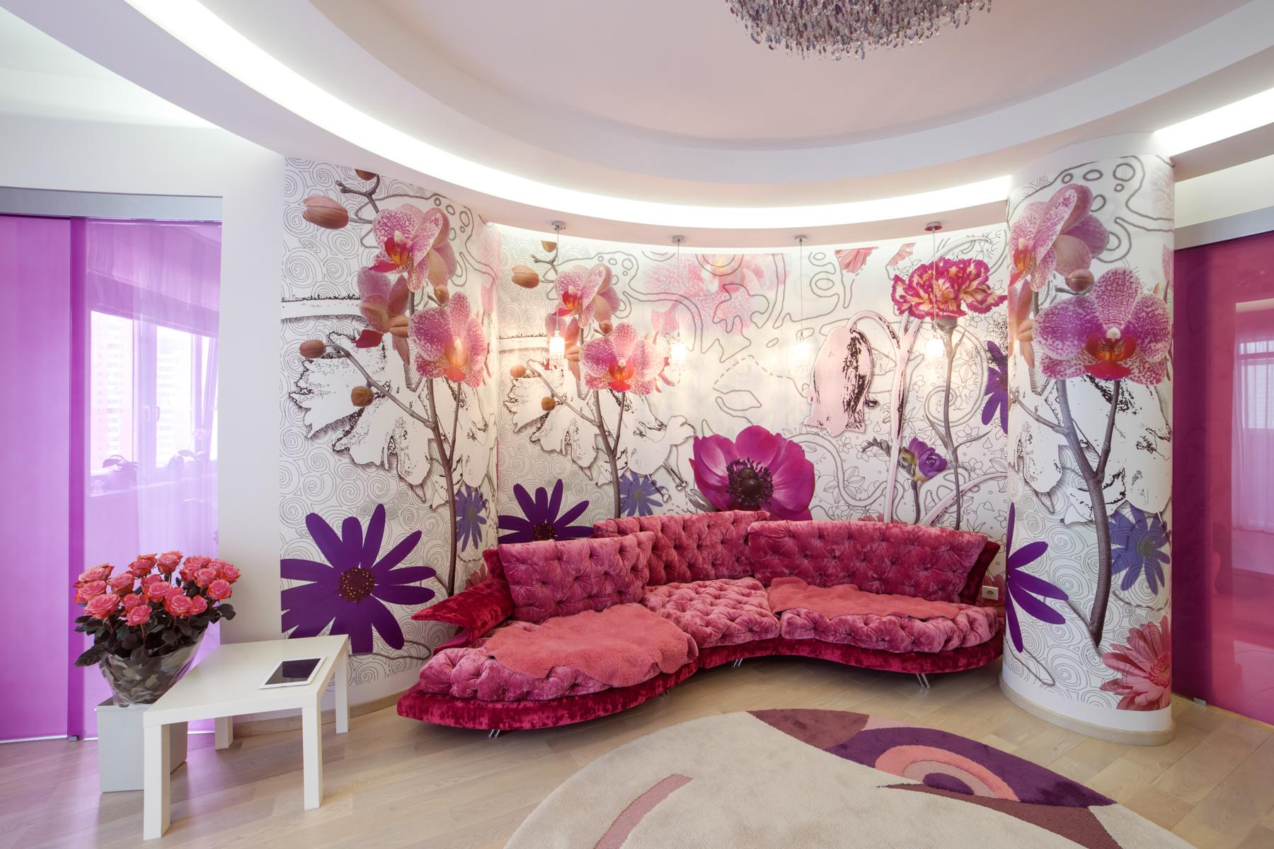 Фото дизайна квартир в розовом цвете