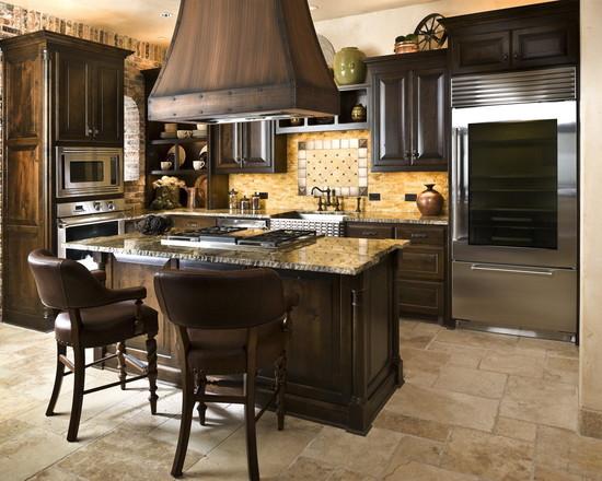 На фото: Кухня, выполненная в современном стиле с использованием дерева