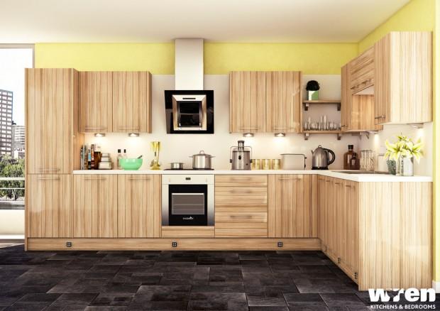 На фото: Светлая кухня с деревянной мебелью, желтой стеной и белым фартуком