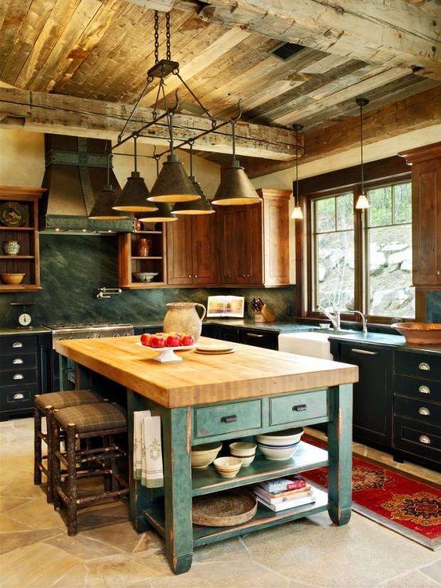 На фото: красивый интерьере с центральной деталью в виде покрашенного деревянного кухонного стола