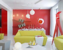Красочный интерьер маленькой квартиры