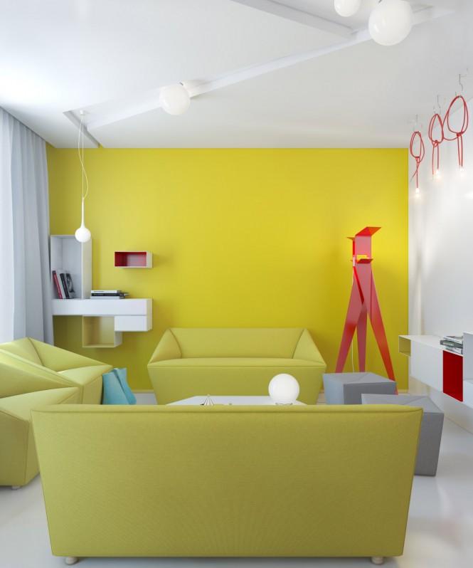 Фото с дизайном ярких стен
