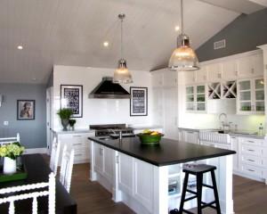Черно бело серый интерьер кухни
