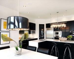 Фото: черно белый интерьер кухни
