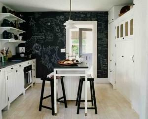 Стена в виде тоски для мела на белой кухне