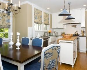 Фото: бело-голубая кухня