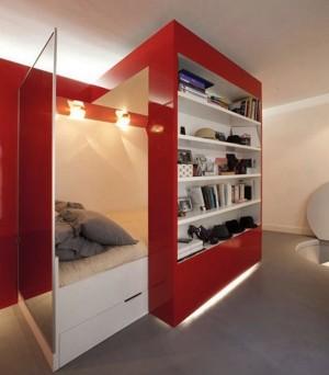 Дизайн кровати внутри шкафа