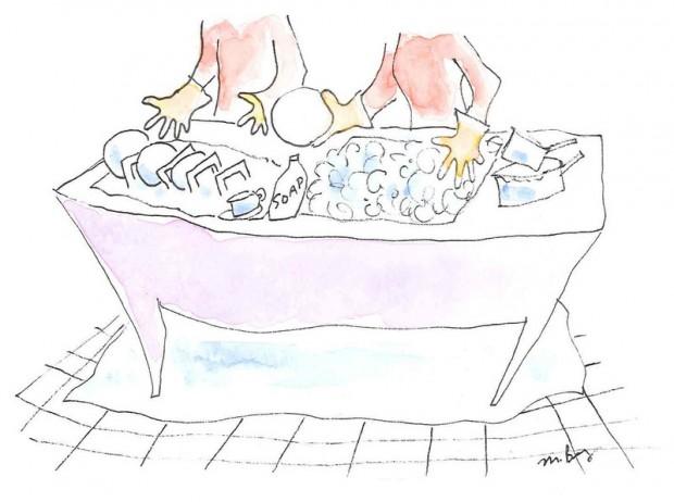 Иллюстрация мойки посуды