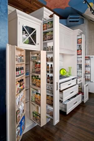 Удобное распределение продуктов на небольшой кухне по системе флайледи