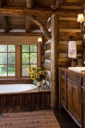 Деревянная ванная комната в Баварском стиле