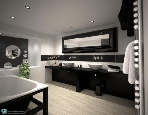 Роскошная ванная комната в черном цвете