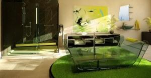 Интерьер ванной комнаты с живыми растениями