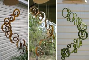 Ветряные «колокольчики» из стеклянных винных бутылок