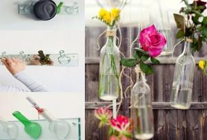 Подвесные вазы сделанные из прозрачных винных бутылок